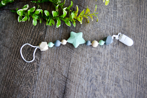 Teething Pacifier Clip - Mint Star, Grey, Tan, Mint - Dream Lily Designs