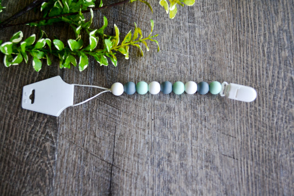 Teething Pacifier Clip - Mint Star, Grey, White Round Beads - Dream Lily Designs