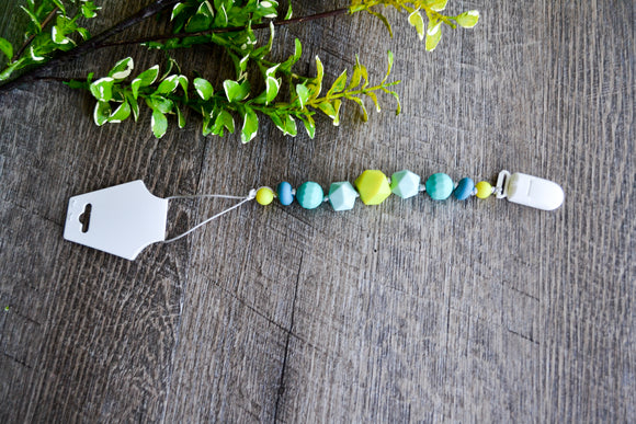 Teething Pacifier Clip - Teal, Lime Green, Mint Beads - Dream Lily Designs