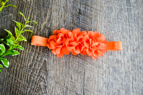 Triple Flower Headband - Orange - Dream Lily Designs