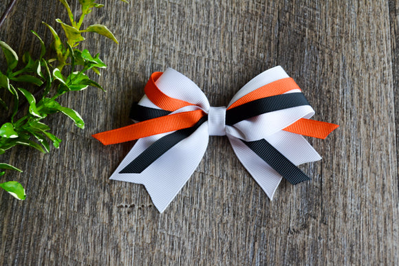 White Orange Black Triple Ribbon Baby Cheer Bow Clip
