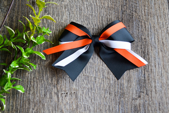 Black Orange White Triple Ribbon Baby Cheer Bow Clip