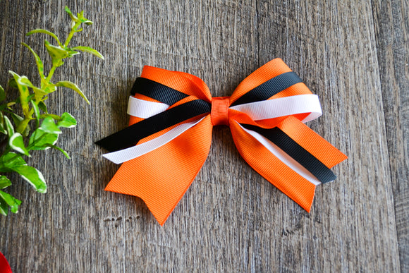 Orange Black White Triple Ribbon Baby Cheer Bow Clip