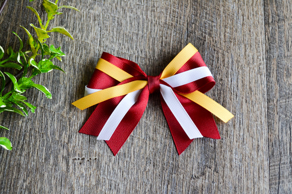 Maroon Gold White Triple Ribbon Baby Cheer Bow Clip