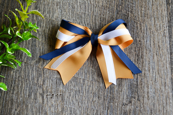 Gold Navy Blue White Triple Ribbon Baby Cheer Bow Clip