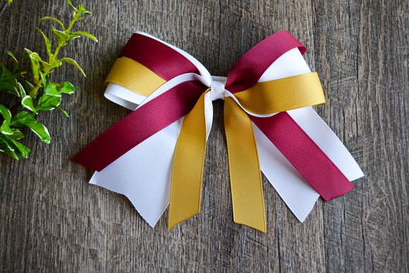 White, Maroon and Gold Triple Ribbon Medium Cheer Bow Clip