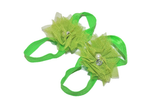 Lime Green Tulle Baby Barefoot Sandals - Dream Lily Designs