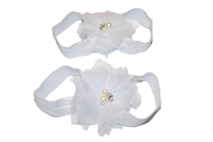 White Tulle Baby Barefoot Sandals - Dream Lily Designs