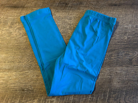 Girls Kids Ultra Soft Leggings - Legging Depot Brand - Ankle Length - School or Play - Bright Turquoise Blue - Dream Lily Designs