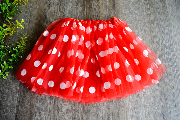 Red with White Polka Dot Minnie Tutu Child - Dream Lily Designs