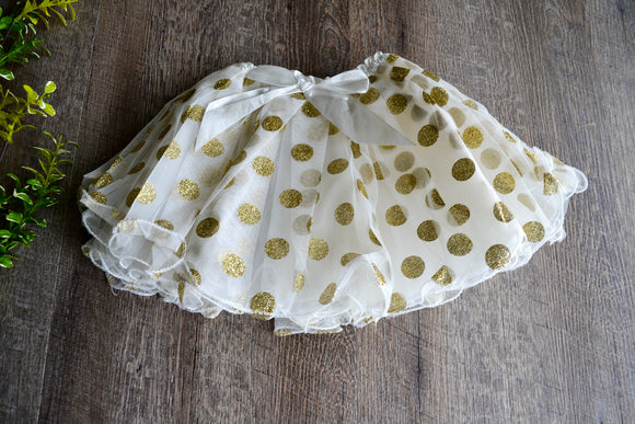Ivory with Gold Glitter Polka Dot Minnie Tutu Child - Dream Lily Designs