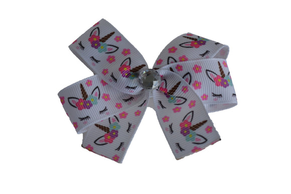 1 Inch White Pink Flower Unicorn Bow (Animal) - Dream Lily Designs