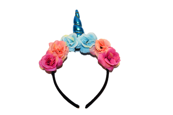 Blue Unicorn Headband with Flowers - Dream Lily Designs