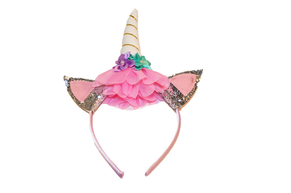 White Unicorn Headband with Ears - Dream Lily Designs