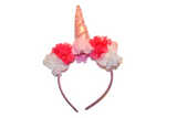Light Pink Unicorn Headband With Flowers - Dream Lily Designs