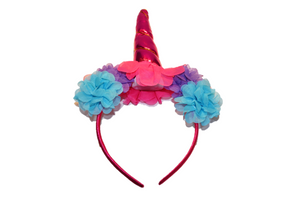 Pink Unicorn Headband With Flowers