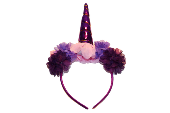 Purple Unicorn Headband With Flowers - Dream Lily Designs