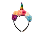 Rainbow Unicorn Headband With Flowers - Dream Lily Designs