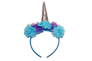 Silver and Blue Unicorn Headband With Flowers - Dream Lily Designs