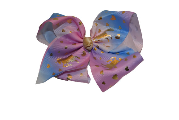 Pastel Pink Blue Rainbow Unicorn Bow Hair Clip - Dream Lily Designs