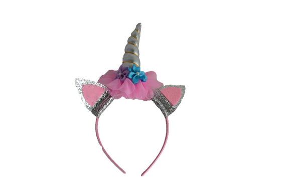 Silver Unicorn Headband with Ears - Dream Lily Designs