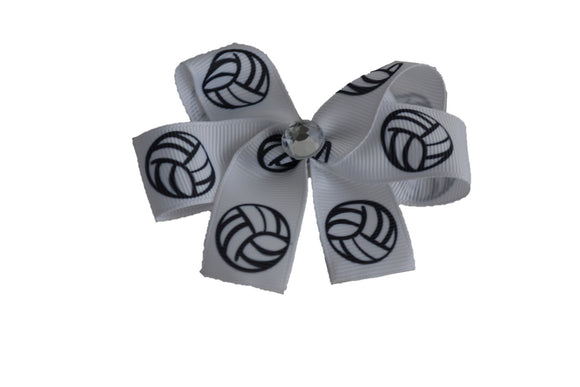 White Volleyball Bow (Sports) - Dream Lily Designs