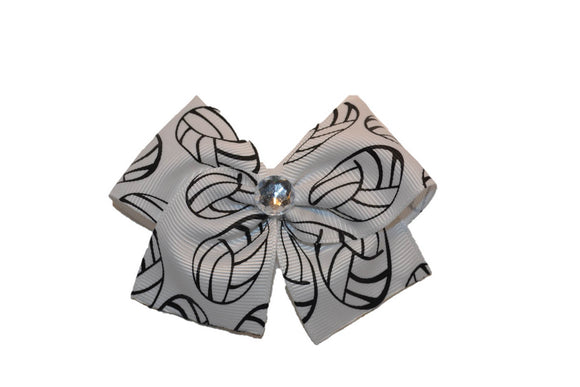1.5 Inch White Volleyball Bow (Sports) - Dream Lily Designs