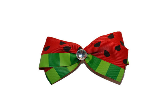 1.5 Inch Watermelon Pattern Hair Bow (Food) - Dream Lily Designs