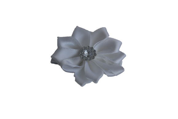 Satin Flower Hair Clip - White - Dream Lily Designs