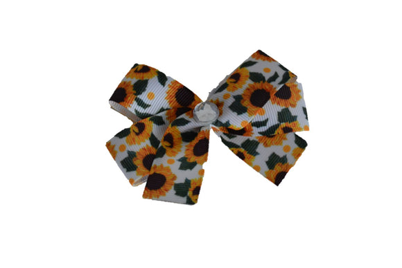 1 Inch White Green Leaf Sunflower Pattern Bow (Misc Patterns) - Dream Lily Designs