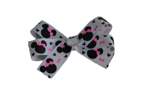 White Pink Thin Ribbon Minnie Bow (Minnie) - Dream Lily Designs