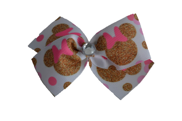 Pink Gold Ribbon Minnie Bow (Minnie) - Dream Lily Designs