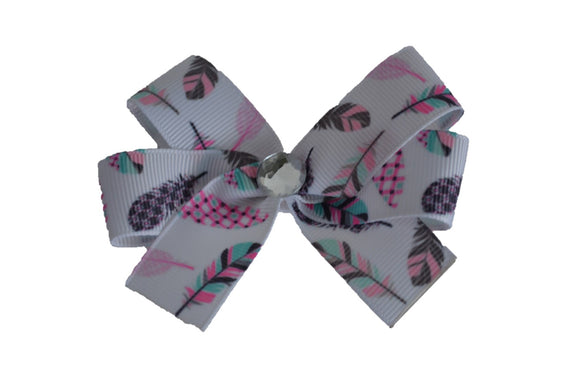 White Pastel Feather Hair Bow (Misc Patterns) - Dream Lily Designs