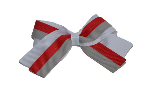 White Red Grey Double Ribbon Baby Cheer Bow Clip - Dream Lily Designs