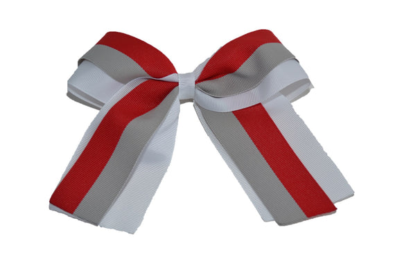 White Red Grey Double Ribbon Medium Cheer Bow Clip - Dream Lily Designs