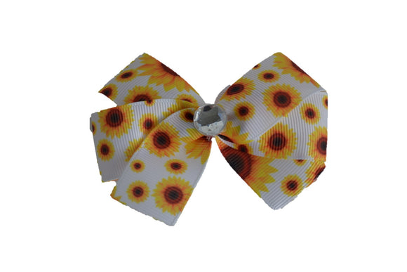 1 Inch White Sunflower Pattern Bow (Misc Patterns) - Dream Lily Designs