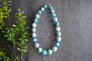 "Teal White ""Bubblegum Bead"" Necklace - Dream Lily Designs"