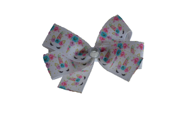 1 Inch White Pink Blue Flower Unicorn Bow (Animal) - Dream Lily Designs