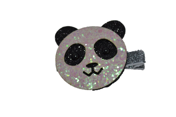 Animal and Bug Ribbon Sculpture Hair Clip - Glitter Panda Bear - Dream Lily Designs
