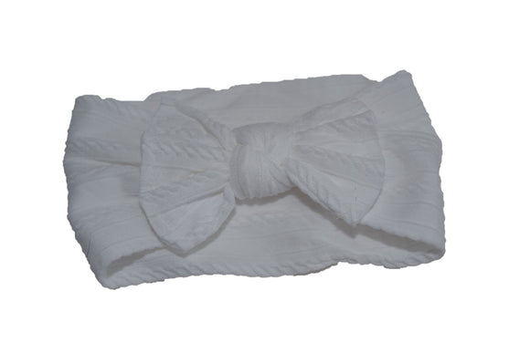 White Nylon Ribbed Knot Baby Wide Headband - Dream Lily Designs