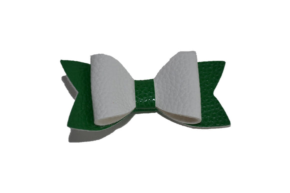 White Green Leather Hair Bow - Dream Lily Designs