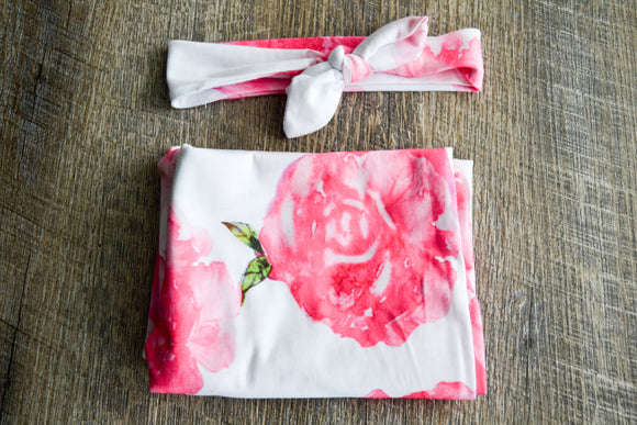 Swaddle Blanket and Headband Set - White with Pink Flowers - Dream Lily Designs