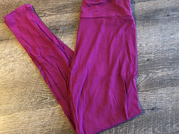 Womens or Teen Ultra Soft Leggings - Legging Depot Brand - Ankle Length - Wine Deep Fuchsia Pink - Dream Lily Designs