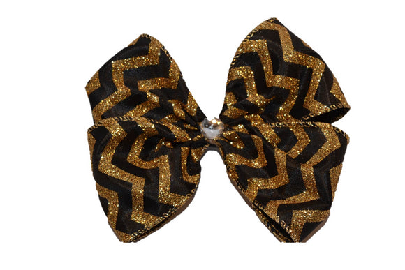 Glitter Wire Ribbon Double Loop Hair Bow - Black with Gold Chevron