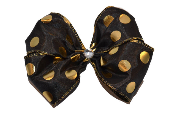 Glitter Wire Ribbon Double Loop Hair Bow - Black with Gold Polka Dot