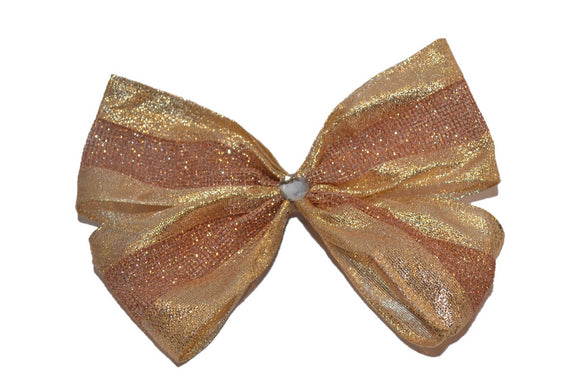 Glitter Wire Ribbon Double Loop Hair Bow - Rose Gold Grid