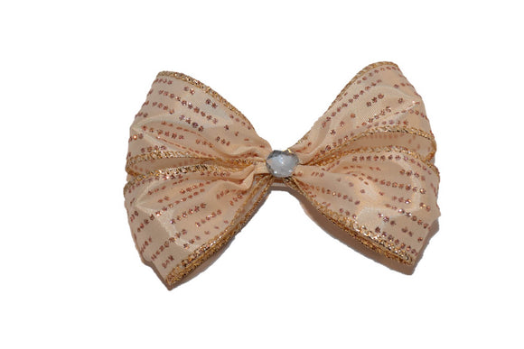 Glitter Wire Ribbon Double Loop Hair Bow - Rose Gold Polka Dot