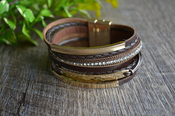 Women's Magnetic Leather Bracelet - Brown Gold Silver Rhinestone Bracelet - Dream Lily Designs