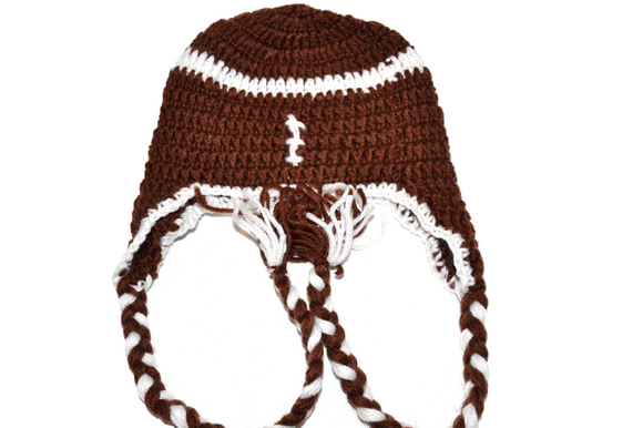 Football Crochet Hat with Tails - Dream Lily Designs