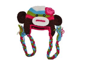 Colorful Monkey Crochet Hat with Tails 1